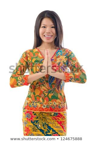 délkelet · ázsiai · női · üdvözlet · portré · fiatal - stock fotó © szefei