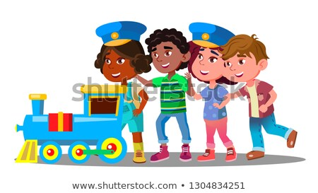 Multinational Kids Go Holding Each Other During The Game In The Train Vector. Isolated Illustration Stock photo © pikepicture