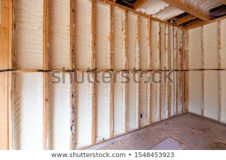 Fal citromsárga üvegszál fa ház épület Stock fotó © pancaketom