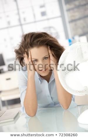 Mulher resfriamento ventilador feliz maduro empresária Foto stock © AndreyPopov