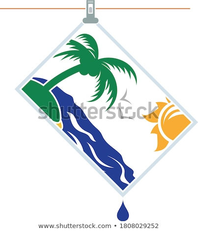 Icon of photograph drying on rope Stock photo © angelp
