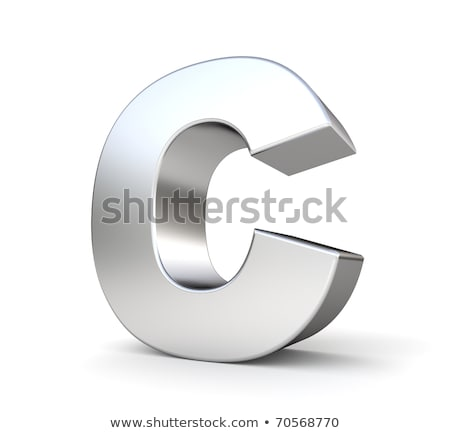 Stock foto: Chrome Font With Colorful Reflections Letter C 3d