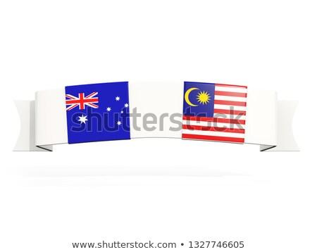 Szalag kettő tér zászlók Ausztrália Malajzia Stock fotó © MikhailMishchenko