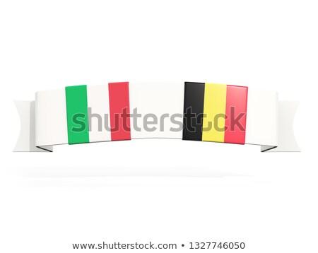 Banner twee vierkante vlaggen Italië België Stockfoto © MikhailMishchenko
