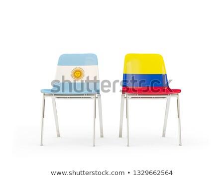Zwei Stühle Fahnen Argentinien Kolumbien isoliert Stock foto © MikhailMishchenko