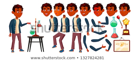 Indian Boy Schoolboy Kid Vector. High School Child. Animation Creation Set. Face Emotions, Gestures. Stock photo © pikepicture