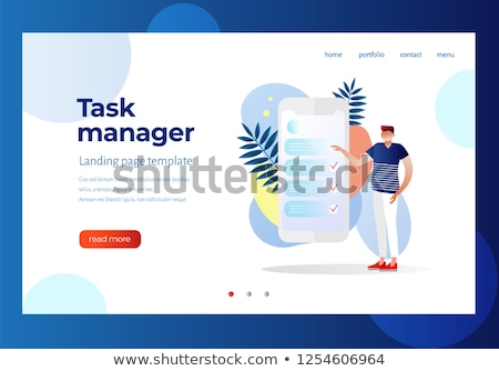 Görev yönetim iniş sayfa küçücük iş adamları Stok fotoğraf © RAStudio