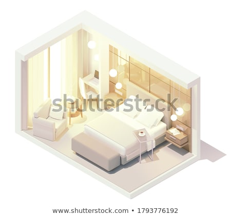 Stock photo: Vector isometric hostel room cross-section