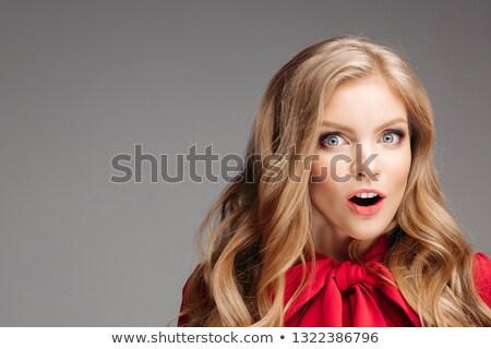 Portre güzel genç kız kırmızı bluz büyük Stok fotoğraf © studiolucky