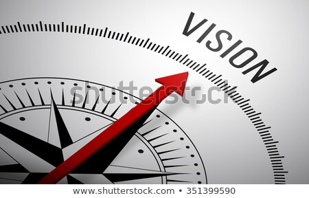 Stok fotoğraf: A Compass With Text And Icons - Vision