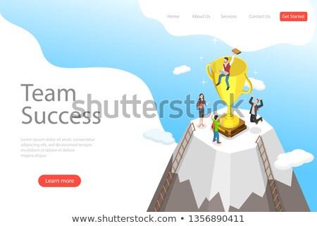 Izometryczny wektora lądowanie szablon zespołu sukces Zdjęcia stock © TarikVision