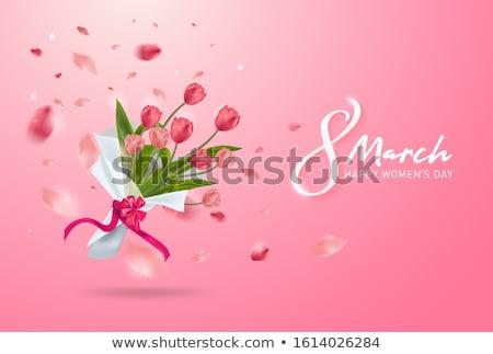 bahar · mavi · çiçekler · vazo · vektör · romantik - stok fotoğraf © frimufilms