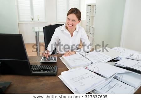 kobieta · interesu · rachunek · biuro · widoku · Kalkulator · różowy - zdjęcia stock © andreypopov