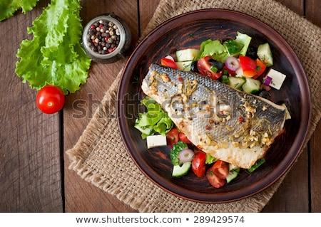 Balık salata yemek örnek sanat restoran Stok fotoğraf © colematt