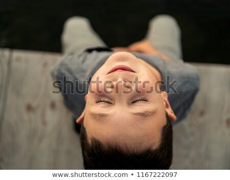 少年 座って 桟橋 禅 のような ストックフォト © Lopolo