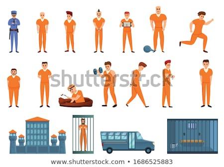 Tutuklandı karakter ceza hapis ayarlamak vektör Stok fotoğraf © pikepicture