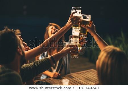 Freunde · Jubel · Bier · Strand · Frau · Mann - stock foto © pressmaster