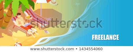 Afgelegen werk laptop strand zomer vector Stockfoto © robuart