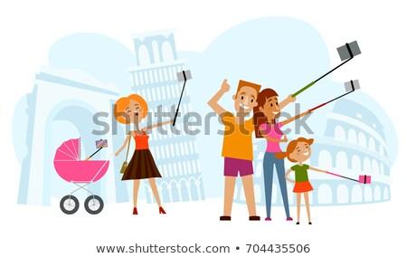 счастливая семья фон квадратный здании детей Сток-фото © galitskaya