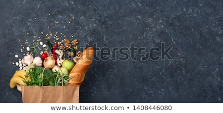 Stock photo: Paper bag of different health fruits food