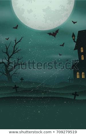 ハロウィン 怖い 城 カボチャ ビッグ 月 ストックフォト © MarySan