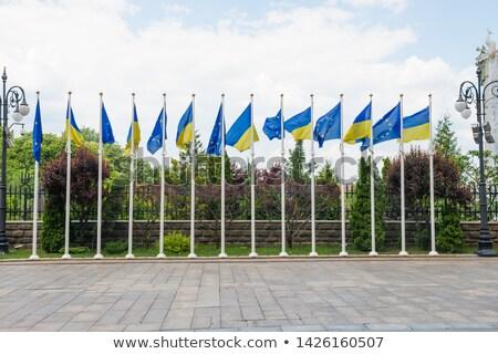 Rangée pavillon Europe Ukraine drapeaux ville Photo stock © vapi