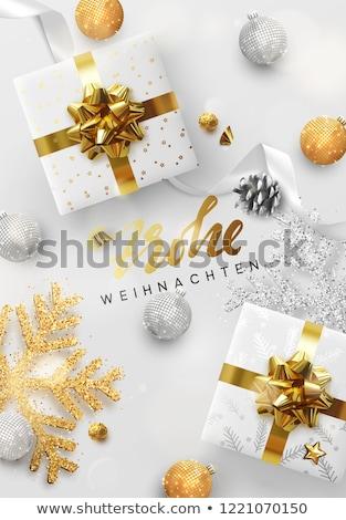 Christmas New Year german card gold xmas bauble Stock photo © cienpies