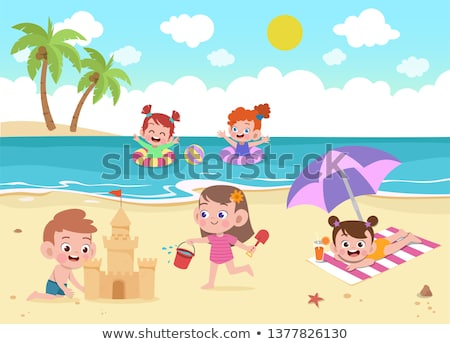 Cute girl play the ball on the beach , Summer holiday poster Stock photo © balasoiu