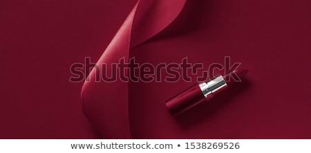 Luxe lippenstift zijde lint kastanjebruin vakantie Stockfoto © Anneleven