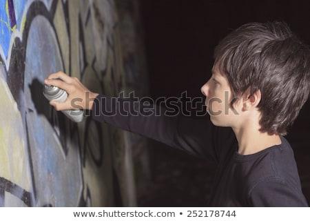 dobos · áll · graffiti · fal · divat · szépség - stock fotó © lopolo