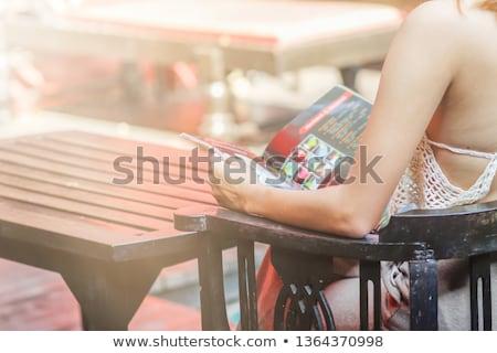 несчастный сидят бассейна свет женщины Сток-фото © HighwayStarz