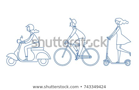 Aktív csávó bicikli jókedv sportok szórakoztatás Stock fotó © jossdiim