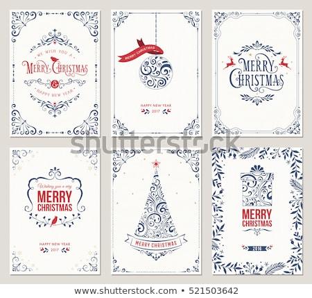 Noël décoration tourbillon frontière bannière vintage Photo stock © Lightsource