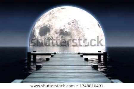 Pier and Moon On Water Horizon Stock photo © albund