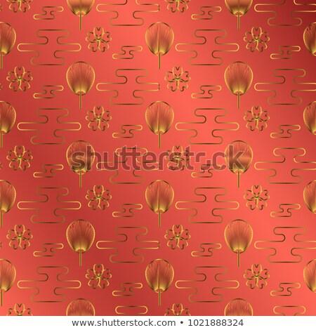 Japonya fan altın kırmızı mücevher renk Stok fotoğraf © yopixart