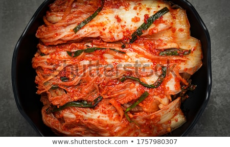 Korean traditional fermented appetizer spicy kimchi cabbage BANNER, LONG FORMAT Stock photo © galitskaya