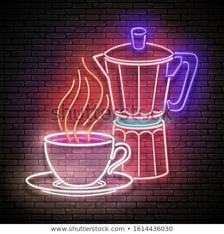 Vintage Glow Signboard with a Cup of Coffee with Steam Stock photo © lissantee