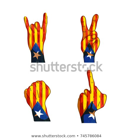 Cartoon hand signs with Catalonia flag isolated on white Stock photo © evgeny89