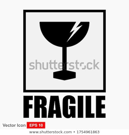 Breekbaar glas eenvoudige zwarte icon schaduw Stockfoto © evgeny89