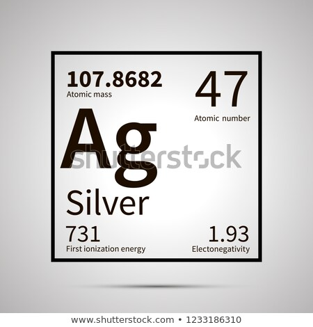 Silver chemical element with first ionization energy, atomic mass and electronegativity values ,simp Stock photo © evgeny89