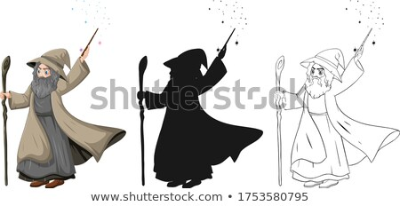 Old wizard with magic wand in color and outline and silhouette c Stock photo © bluering