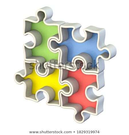 Four basic color jigsaw puzzle 3D Stock photo © djmilic
