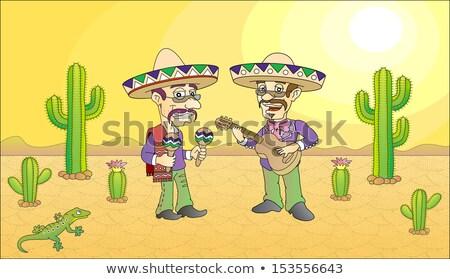 Meksika müzisyenler geniş kenarlı şapka oynamak gitar müzik Stok fotoğraf © jossdiim