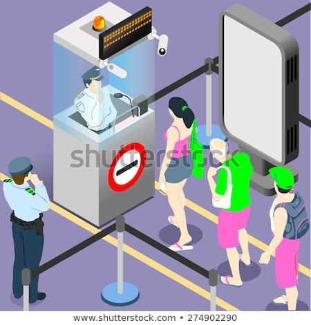 Paspoort douane controle isometrische icon vector Stockfoto © pikepicture