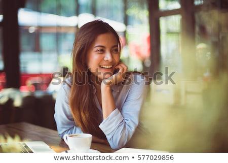 Kadın kafe oturma dışında kahve şehir Stok fotoğraf © dayzeren