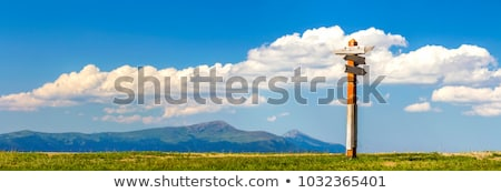 Stok fotoğraf: Mountains Landscape And Signpost