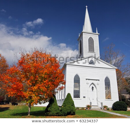 traditional american white church in the fall stock photo © dacasdo
