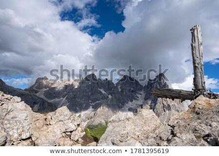 Stockfoto: Oude · loopgraaf · kruis · landschap
