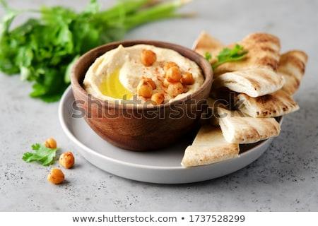 hummus with pita bread stock photo © m-studio