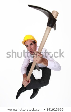Angry architect sat with pick-ax Stock photo © photography33
